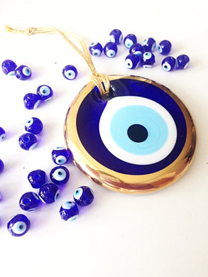 gold evil eye bead - 10cm - evil eye wall hanging - evil eye charm - large evil eye - turkish evil eye - nazar boncuk - evil eye decor - Evileyefavor