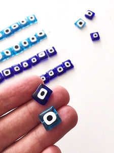 set of 30 ojo beads - Flat square glass evil eye 10mm - beads for jewelry - Evileyefavor