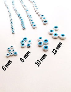 White evil eye beads - Flat glass bead - 6mm to 12mm - Nazar evil eye tiny beads - Evileyefavor