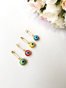 Lucky evil eye safety pin, protection for baby, gold plated evil eye pins, baby boy gift pin, baby shower gift, stroller, birth announcement - Evileyefavor