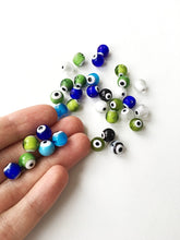 Mixed color evil eye beads- 6mm 8mm 10mm glass beads for bracelets - Turkish lamp work set of 35 to 45 beads - diy jewelry supplies - Evileyefavor