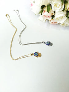 FREE SHIPPING, Hamsa Evil Eye Necklace - Gold Evil eye Jewelry - Zirconia evil eye necklace - Evileyefavor