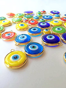 22mm glass evil eye charms, evil eye jewelry supplies - Evileyefavor
