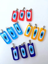 Rectangular glass evil eye charms, murano glass evil eye pendant - Evileyefavor