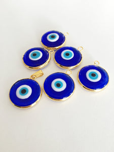 2pcs gold plated evil eye pendants, 22mm turkish handmade evil eye charms - Evileyefavor