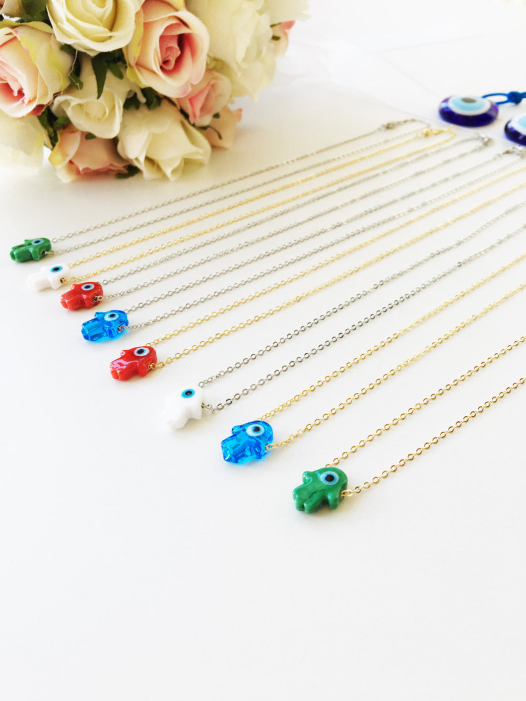 Hamsa evil eye necklace, glass hamsa hand necklace, gold plated hamsa necklace - Evileyefavor