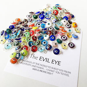 Evil eye glass charms, 25 pcs, Evil eye beads for connectors - Evileyefavor