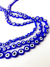 Dark blue evil eye 6mm to 10mm, flat evil eye beads, flat glass beads, evil eye set of 30 to 55 beads - Evileyefavor