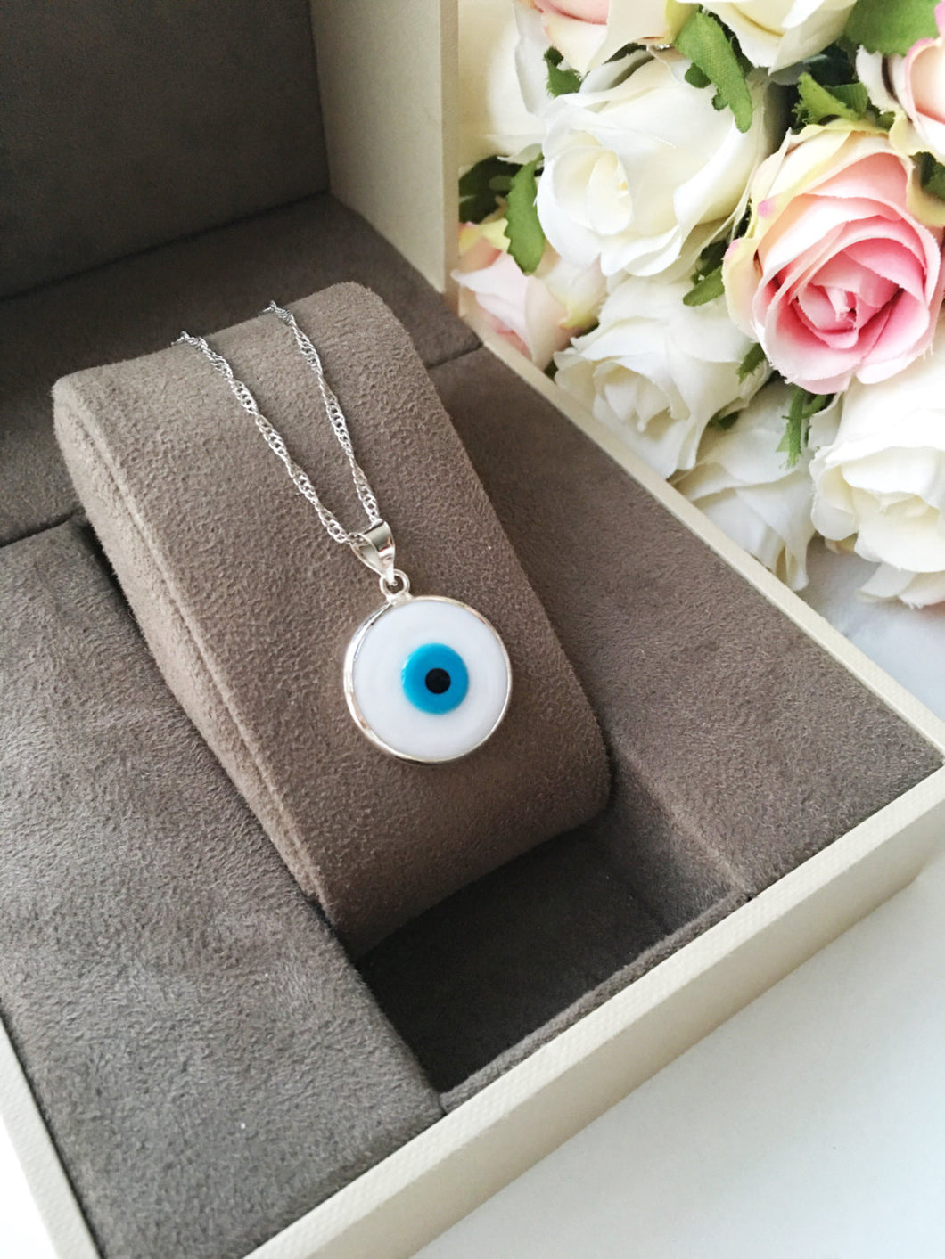 Evil eye necklace, white evil eye bead necklace, dark blue tiny evil eye - Evileyefavor