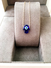 Blue hamsa evil eye necklace, hamsa choker necklace, gold chain hamsa evil eye necklace - Evileyefavor