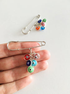 Evil eye beads safety pin, Lucky evil eye safety pin, mixed color stroller pin - Evileyefavor