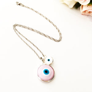 evil eye choker necklace, pink evil eye choker necklace, white tiny evil eye - Evileyefavor