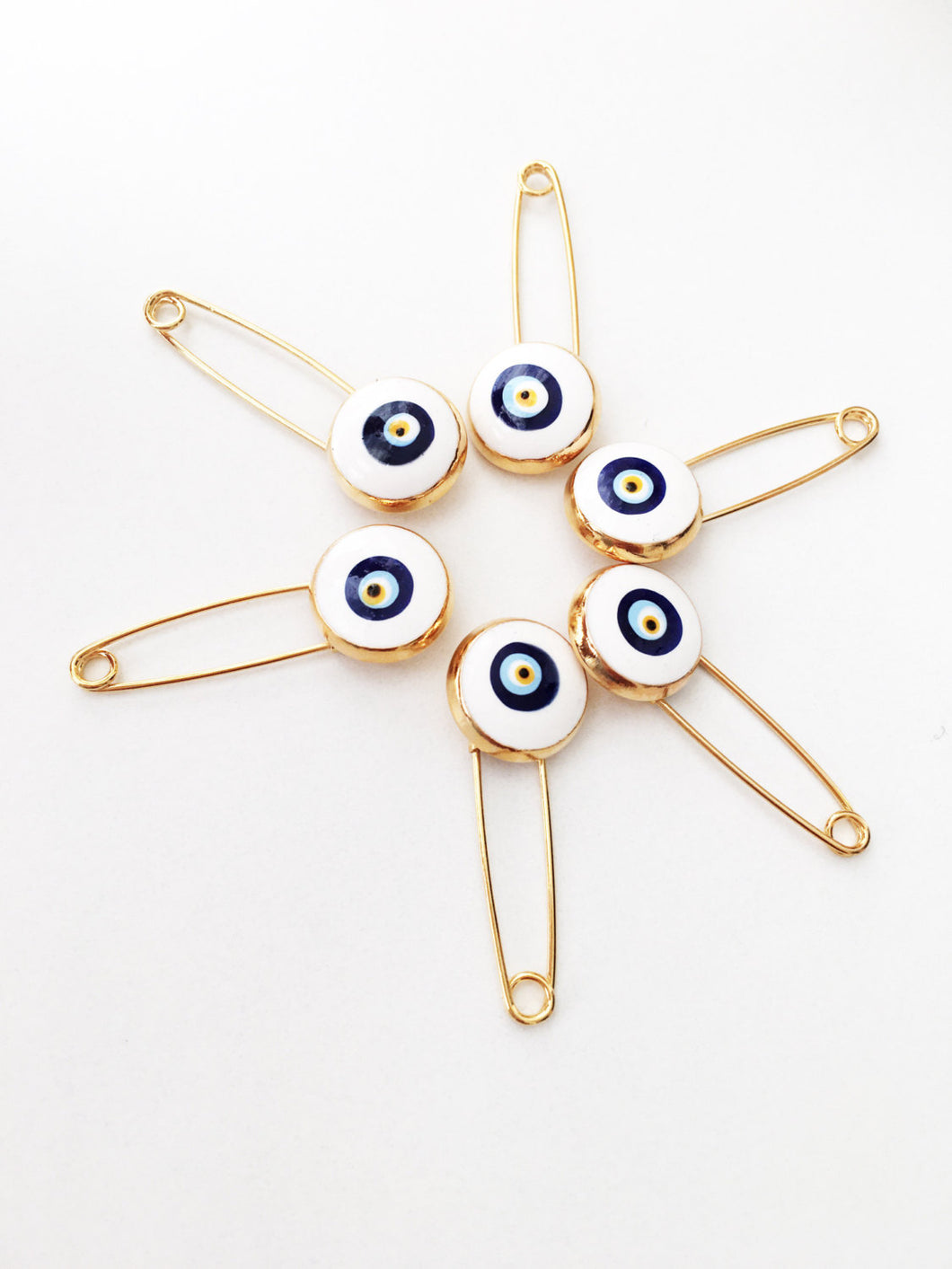 5 pcs evil eye safety pin, white lucky evil eye pin, protection for baby, gold plated evil eye pins - Evileyefavor