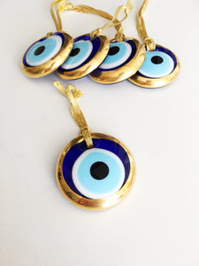 2pcs gold evil eye bead - 4.5cm - malocchio- evil eye wall hanging - gold evil eye charm - Evileyefavor