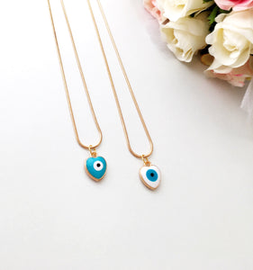 Evil eye necklace, heart evil eye charm necklace, white blue evil eye necklace - Evileyefavor