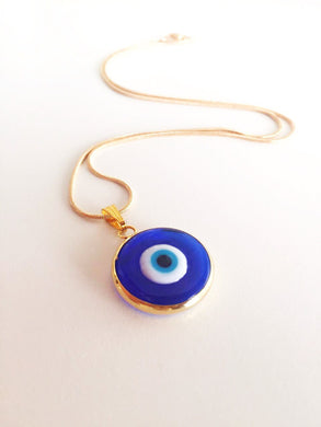 Dark blue evil eye necklace, choker necklace, tiny evil eye necklace, 22K gold plated necklace - Evileyefavor