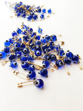 25 pcs evil eye safety pins, tiny evil eye pins, glass evil eye bead, unique wedding favors - Evileyefavor