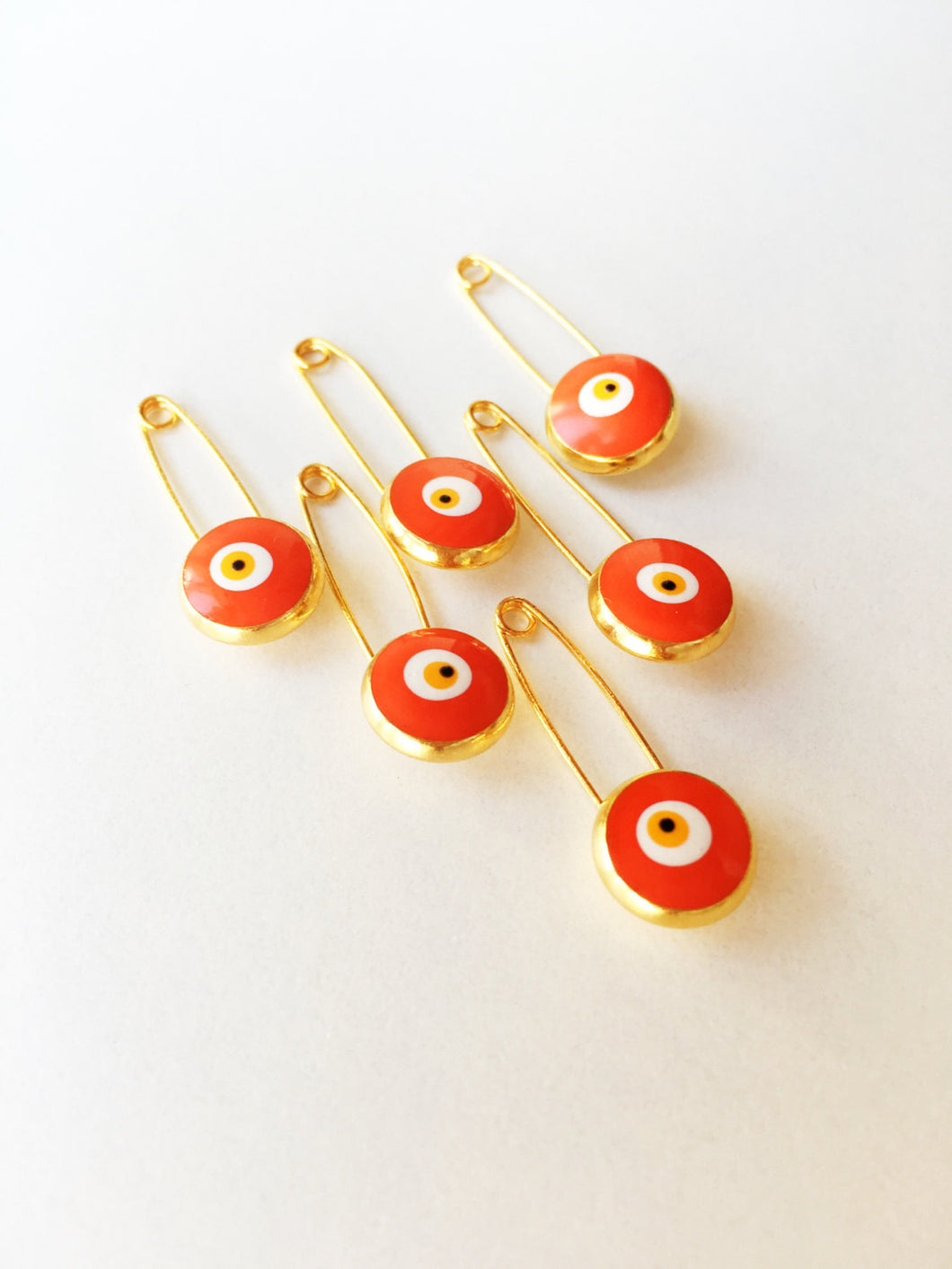 5 pcs Lucky evil eye safety pin, protection for baby, gold plated evil eye pins - Evileyefavor