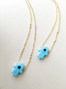 Hamsa evil eye necklace, blue hamsa evil eye necklace, glass hamsa hand necklace - Evileyefavor