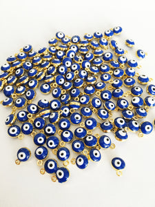 10 pcs Gold plated evil eye charm, evil eye spacer beads, blue turkish evil eye - Evileyefavor