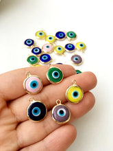 2pcs gold plated evil eye pendants, 12mm evil eye charms, glass evil eye charms - Evileyefavor