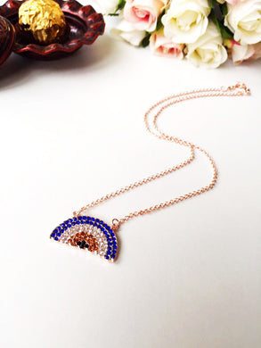Evil Eye Necklace - Rose Gold Evil eye Jewelry - Zirconia evil eye necklace - Evileyefavor