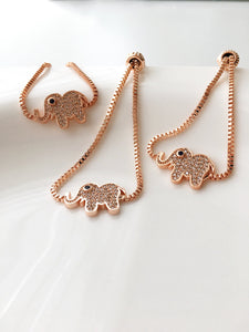 Good Luck Elephant Bracelet, Rose Gold Jewelry - Evileyefavor