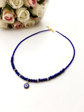 Evil Eye Necklace - miyuki evil eye jewelry - blue evil eye necklace - Evileyefavor