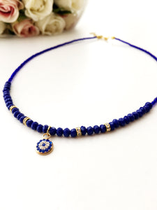 Evil eye necklace, miyuki necklace, seed beads necklace, evil eye charm necklace - Evileyefavor