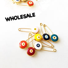 WHOLESALE- 50 pcs - Lucky evil eye safety pin, protection for baby - Evileyefavor