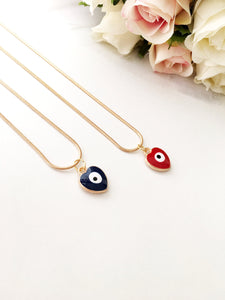 Evil eye necklace, heart evil eye charm necklace, red blue evil eye necklace - Evileyefavor