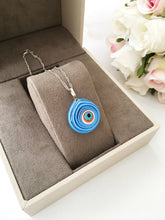 Murano glass evil eye necklace, evil eye charm necklace, lamp work evil eye necklace - Evileyefavor