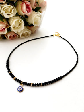 Evil Eye Necklace - miyuki evil eye jewelry - black evil eye necklace - Evileyefavor