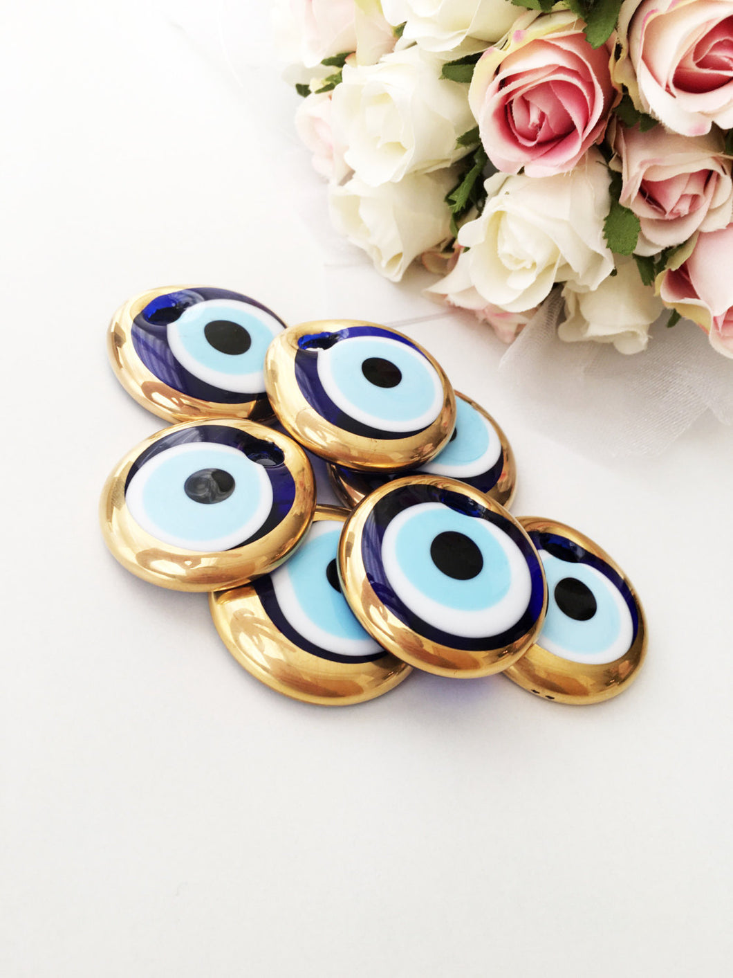 10 pcs evil eye charm, bulk gift evil eye gold unique wedding favors, - Evileyefavor