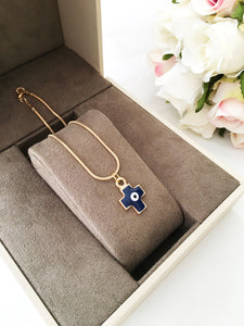 Cross evil eye necklace, evil eye pendant necklace, blue cross charm necklace - Evileyefavor