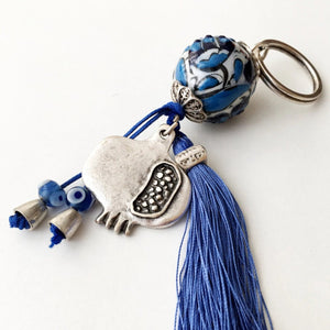 Blue evil eye pomegranate key chain, evil eye bag accessories - Evileyefavor