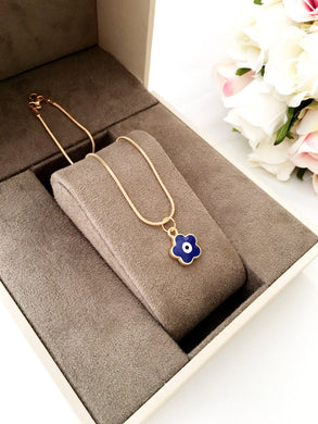 Four clover leaf evil eye necklace, choker necklace, clover evil eye necklace - Evileyefavor
