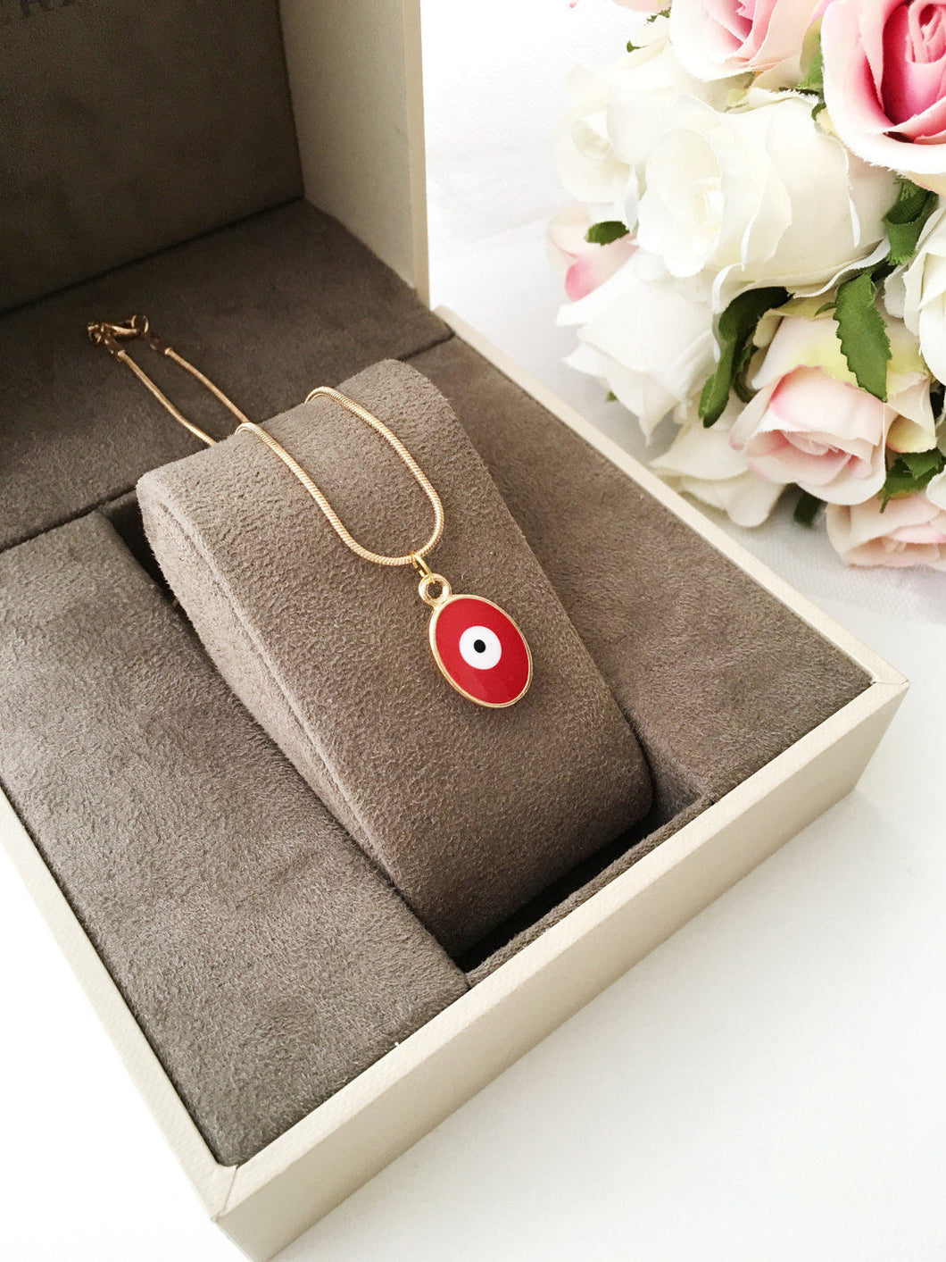 Tiny evil eye necklace, evil eye jewelry, 22K gold plated necklace - Evileyefavor