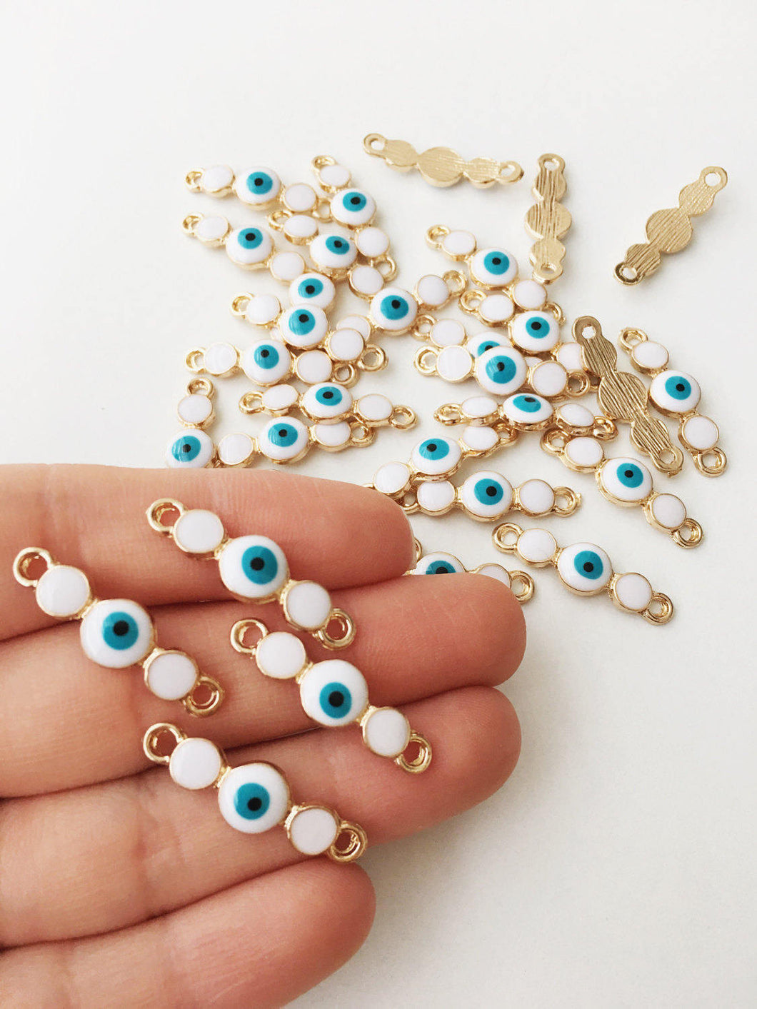 3 pcs Gold plated evil eye charm, white evil eye connector, evil eye pendant - Evileyefavor