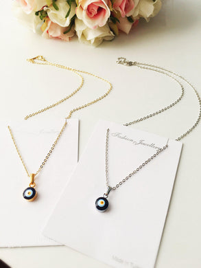 Tiny evil eye necklace, bead evil eye necklace, gold chain evil eye necklace - Evileyefavor