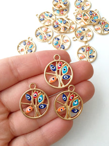 2 pcs Tree of life evil eye charm, gold plated evil eye, tree of life pendant - Evileyefavor