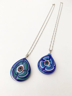 Murano glass evil eye necklace, elegant evil eye charm necklace, lamp work - Evileyefavor
