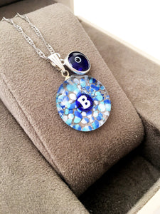 Personalized evil eye necklace, initial necklace, evil eye necklace, murano glass necklace - Evileyefavor