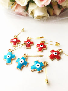 5 pcs cross evil eye safety pin, baby safety pins, red evil eye stroller pin, cross pin - Evileyefavor