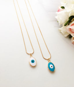 Tiny evil eye necklace, evil eye jewelry, 22K gold plated necklace, turquoise oval evil eye - Evileyefavor