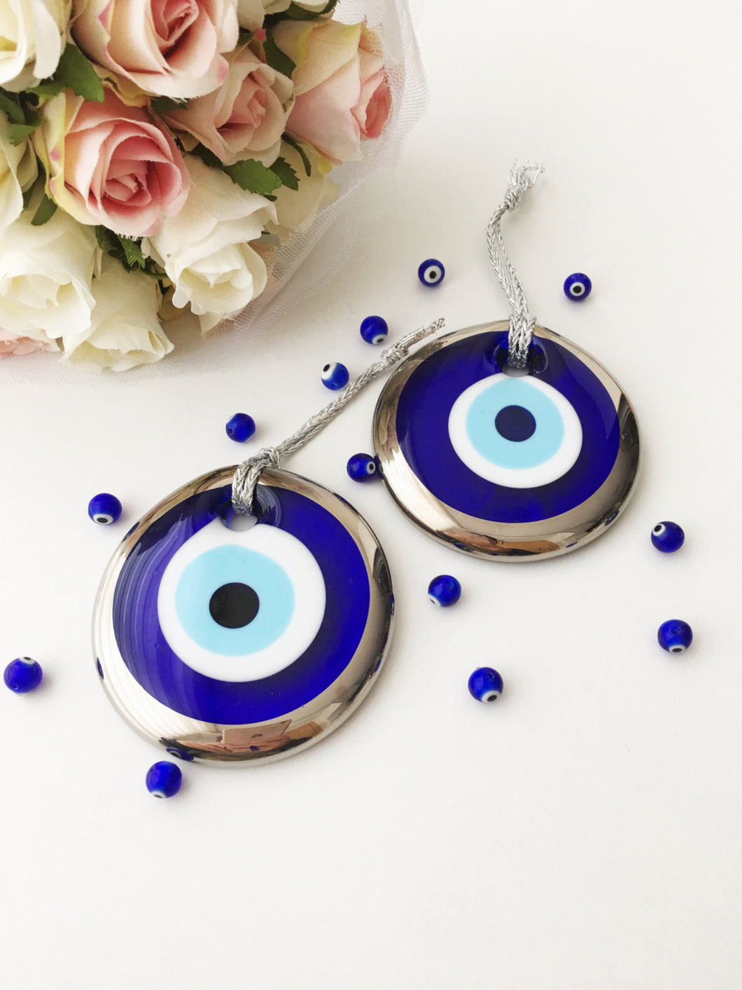 Silver evil eye bead - 7cm - evil eye wall hanging - gold evil eye charm - Evileyefavor