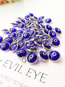Evil eye charm | blue evil eye beads | glass evil eye charms | evil eye beads connectors | turkish evil eye jewelry | evil eye necklace - Evileyefavor
