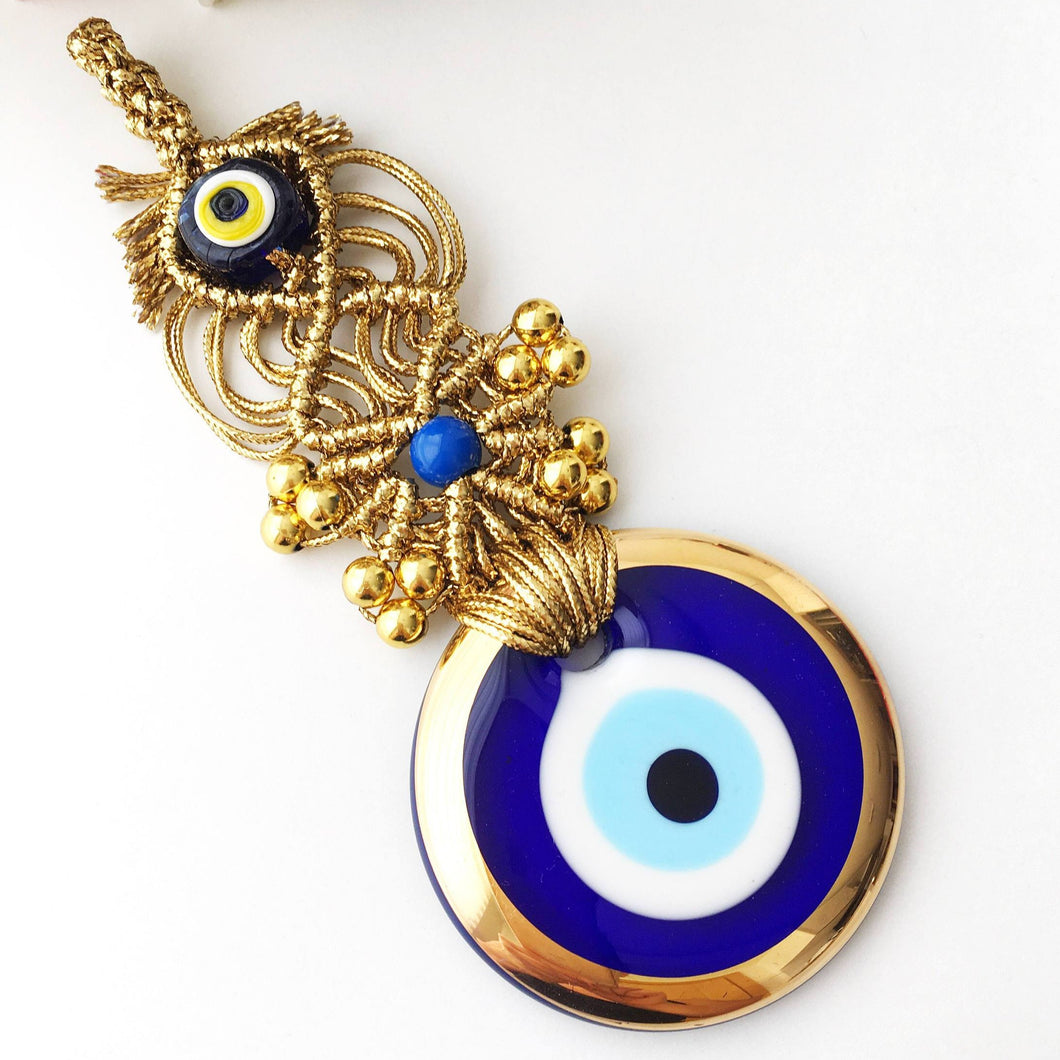 Gold Macrame Evil Eye Wall Decor - Evileyefavor