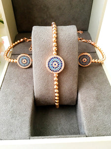 Greek Evil Eye Bracelet, Zircon Rose Gold Evil Eye Jewelry - Evileyefavor