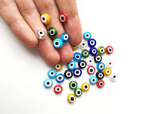 100 pieces evil eye beads 10mm, flat round mixes color evil eye beads, - Evileyefavor